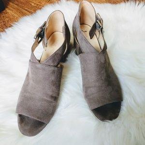 Gray Suede Open Toe Block Heel Buckle Shoe